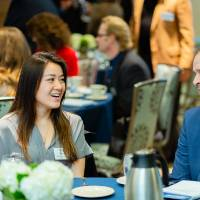Student talking with a donor at Scholarship Dinner 2019